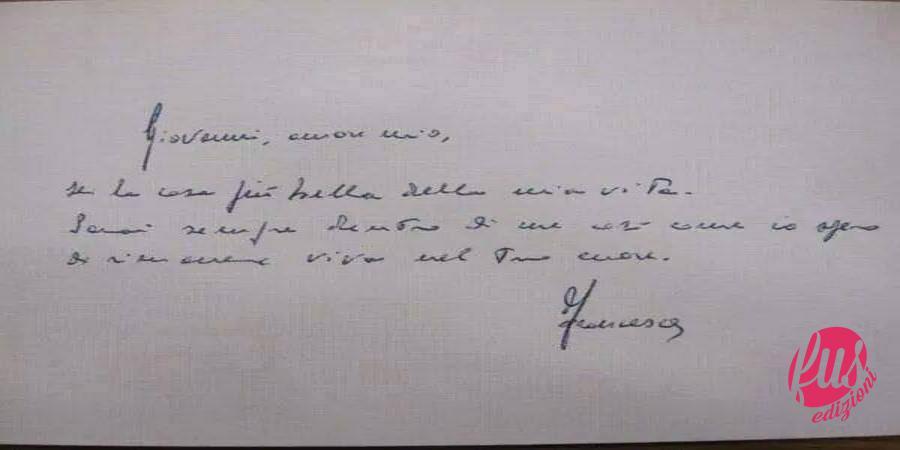 Biglietto di Francesca Morvillo a Giovanni Falcone